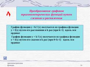 тригонометрические функции * Преобразование графиков тригонометрических функц