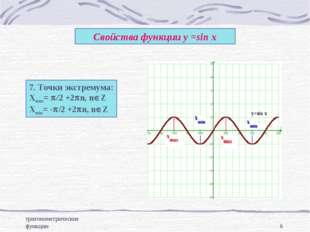 тригонометрические функции * Свойства функции у =sin x 7. Точки экстремума: Х