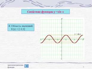 тригонометрические функции * Свойства функции у =sin x 8. Область значений: Е