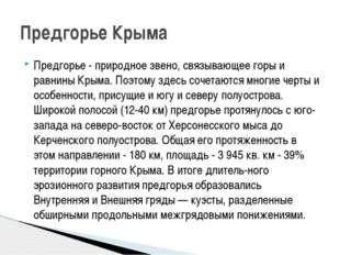 Предгорье - природное звено, связывающее горы и равнины Крыма. Поэтому здесь