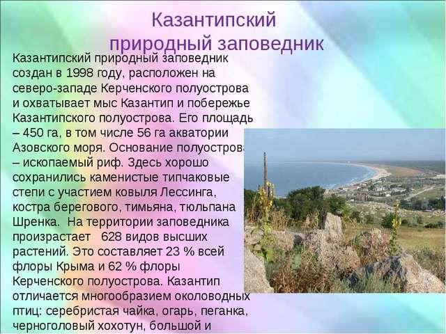 Казантипский природный заповедник Казантипский природный заповедник создан в...