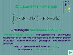 Определенный интеграл – формула Ньютона-Лейбница. Геометрический смысл опреде