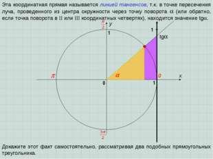 x y 0 1 0 1 Эта координатная прямая называется линией тангенсов, т.к. в точке