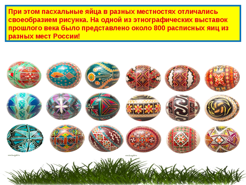 При этом пасхальные яйца в разных местностях отличались своеобразием рисунка....