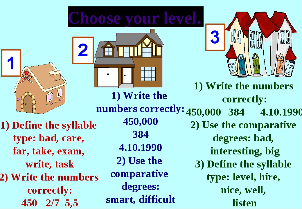 Choose your level. 1) Write the numbers correctly: 450,000 384 4.10.1990 2) U...