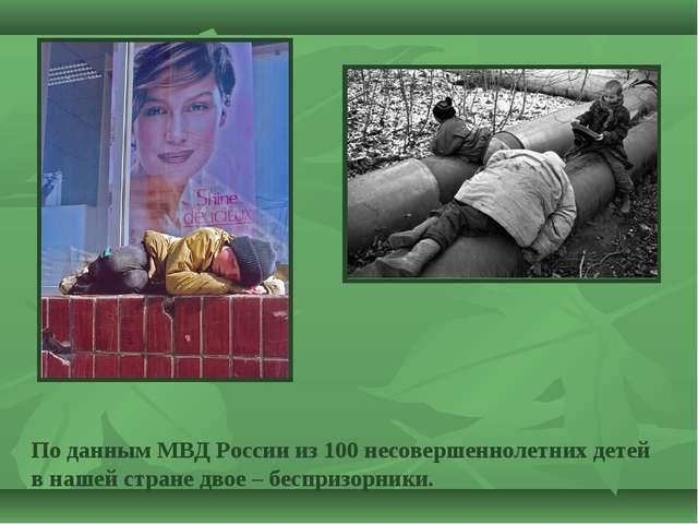 По данным МВД России из 100 несовершеннолетних детей в нашей стране двое – бе...