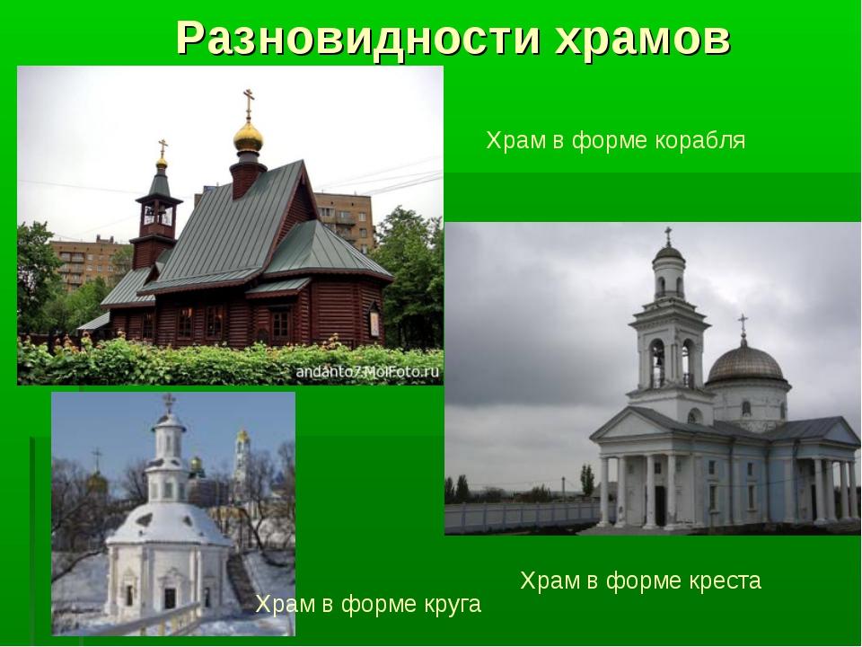 Разновидности храмов Храм в форме креста Храм в форме корабля Храм в форме кр...