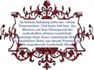 Im Schloss Sababurg lebte das schöne Dornroeschen. Und heute lebt hier das Mä