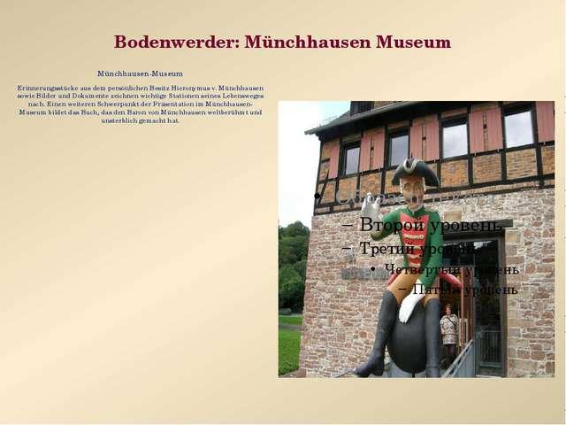 Bodenwerder: Münchhausen Museum Münchhausen-Museum Erinnerungsstücke aus dem...