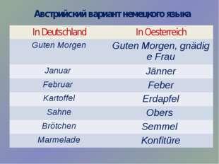 Австрийский вариант немецкого языка In Deutschland InOesterreich GutenMorgen