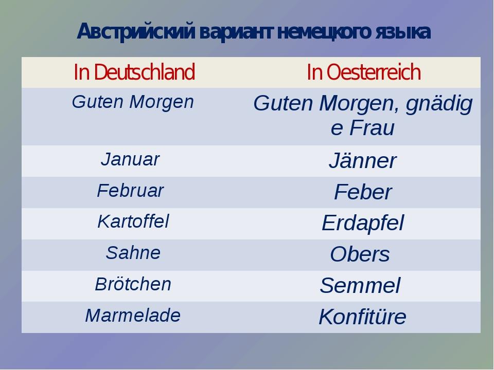 Австрийский вариант немецкого языка In Deutschland InOesterreich GutenMorgen...