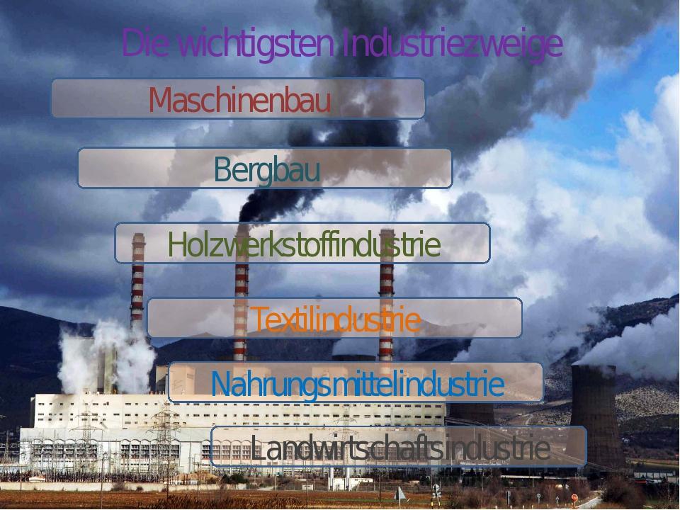 Die wichtigsten Industriezweige Maschinenbau Bergbau Holzwerkstoffindustrie T...