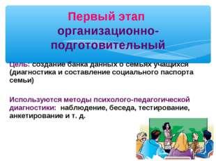 Цель: создание банка данных о семьях учащихся (диагностика и составление соци