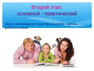 Цель: налаживание позитивной связи: школа- ребёнок-семья Второй этап: основно