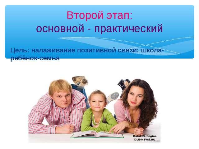 Цель: налаживание позитивной связи: школа- ребёнок-семья Второй этап: основно...