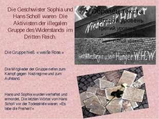 Die Geschwister Sophia und Hans Scholl waren Die Aktivisten der illegalen Gru
