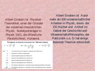 Albert Einstein ist Physiker-Theoretiker, einer der Gründer der modernen theo