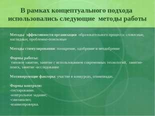 В рамках концептуального подхода использовались следующие методы работы Метод