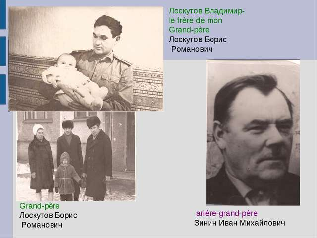 Grand-père Лоскутов Борис Романович arière-grand-père Зинин Иван Михайлович Л...