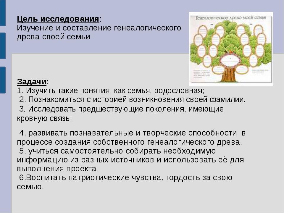 Цель исследования: Изучение и составление генеалогического древа своей семьи...