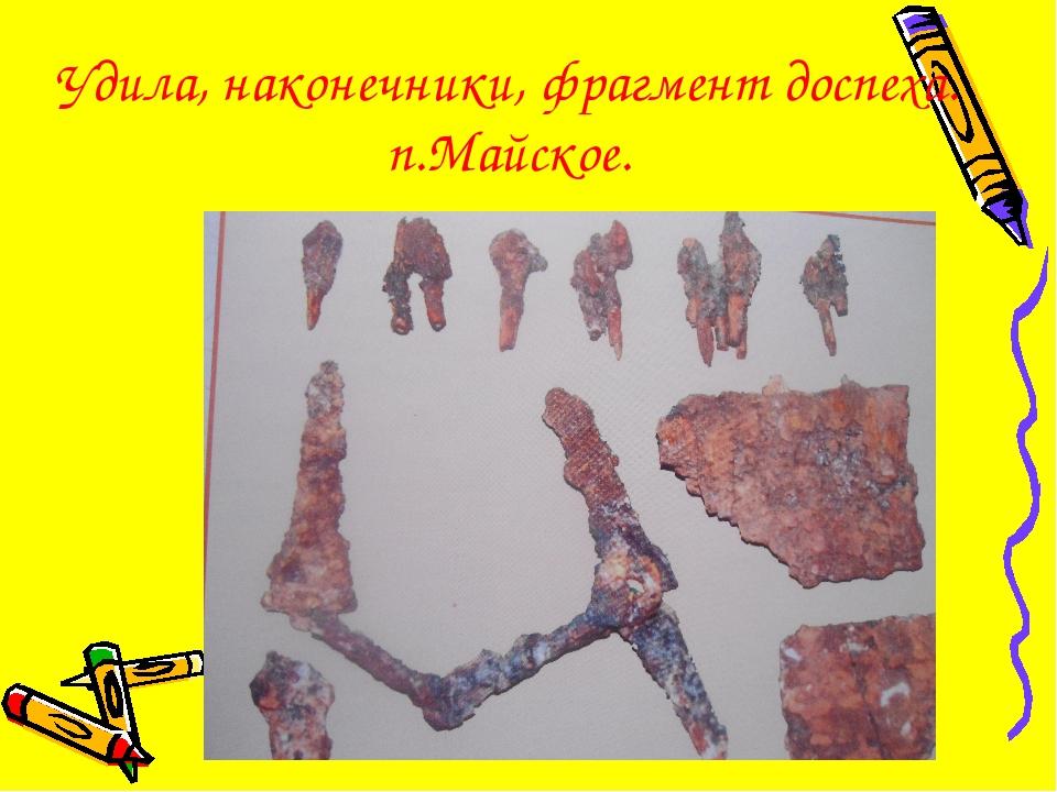 Удила, наконечники, фрагмент доспеха. п.Майское.