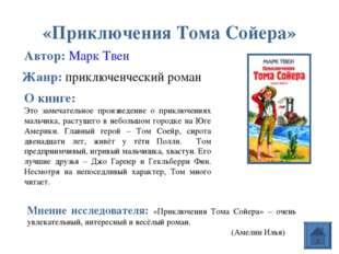 «Приключения Тома Сойера» Автор: Марк Твен О книге: Это замечательное произве