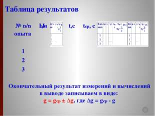 Окончательный результат измерений и вычислений в выводе записываем в виде: g