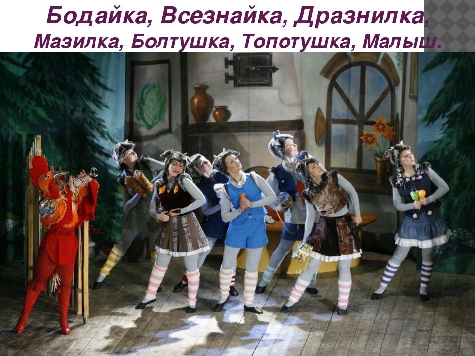 Бодайка, Всезнайка, Дразнилка, Мазилка, Болтушка, Топотушка, Малыш.