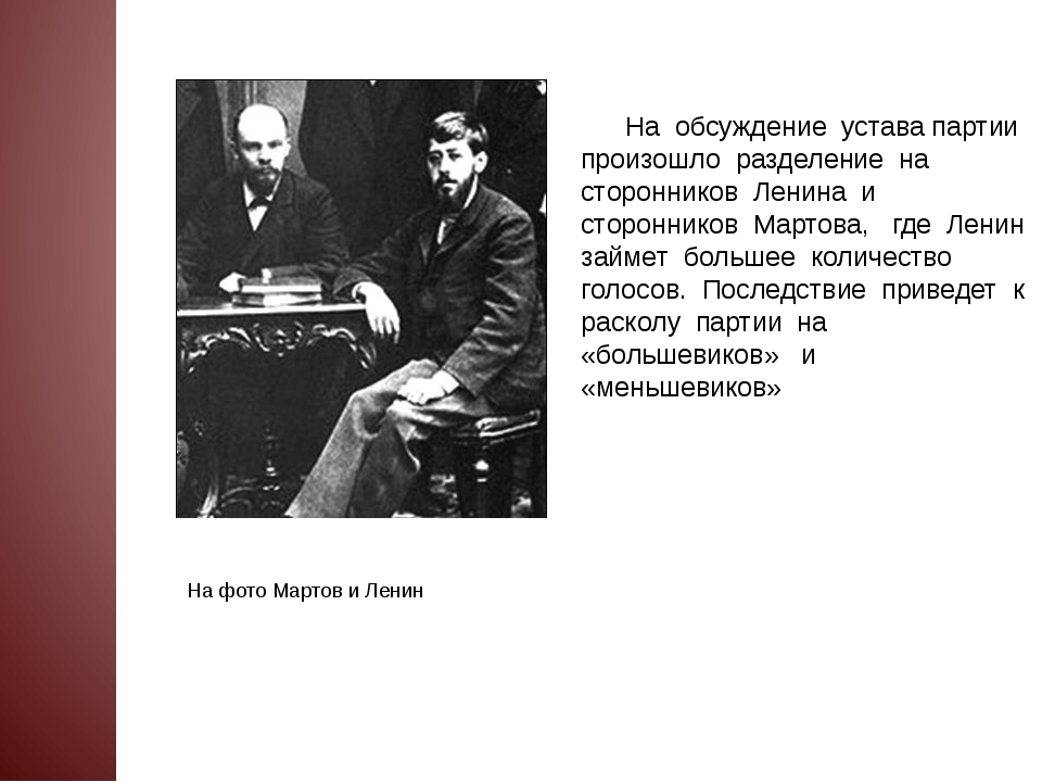 На обсуждение устава партии произошло разделение на сторонников Ленина и сто...