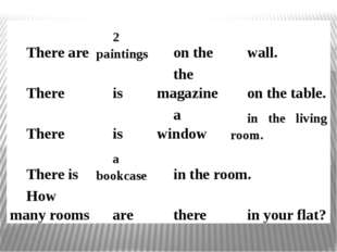 Thereare 2 paintings on the wall. There is the magazine on the table. There i