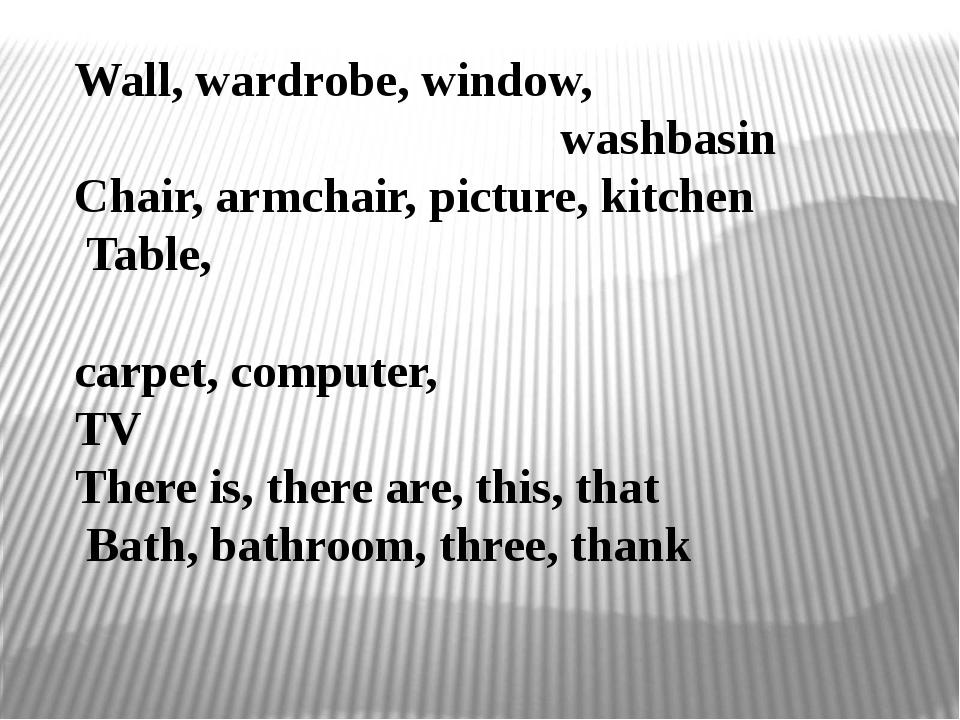 Wall, wardrobe, window, washbasin Chair, armchair, picture, kitchen Table, ca...