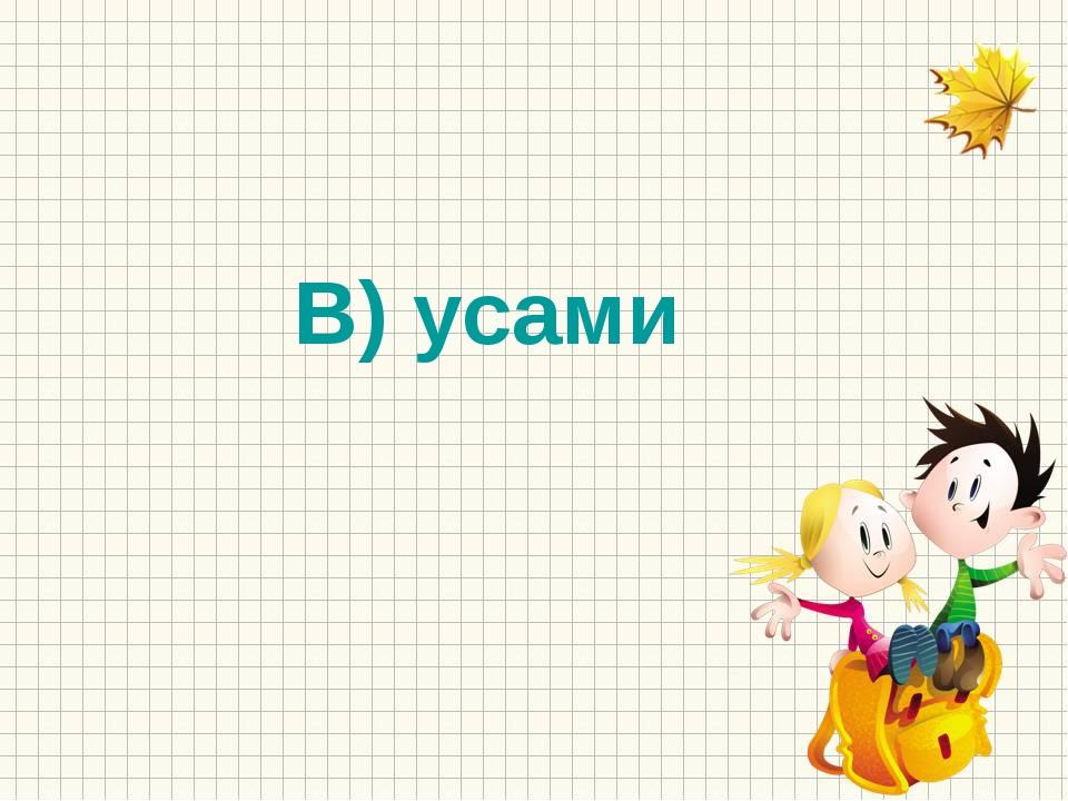 В) усами
