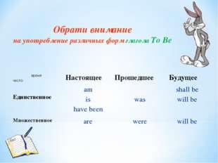 Обрати внимание на употребление различных форм глаголаTo Be время числоНас