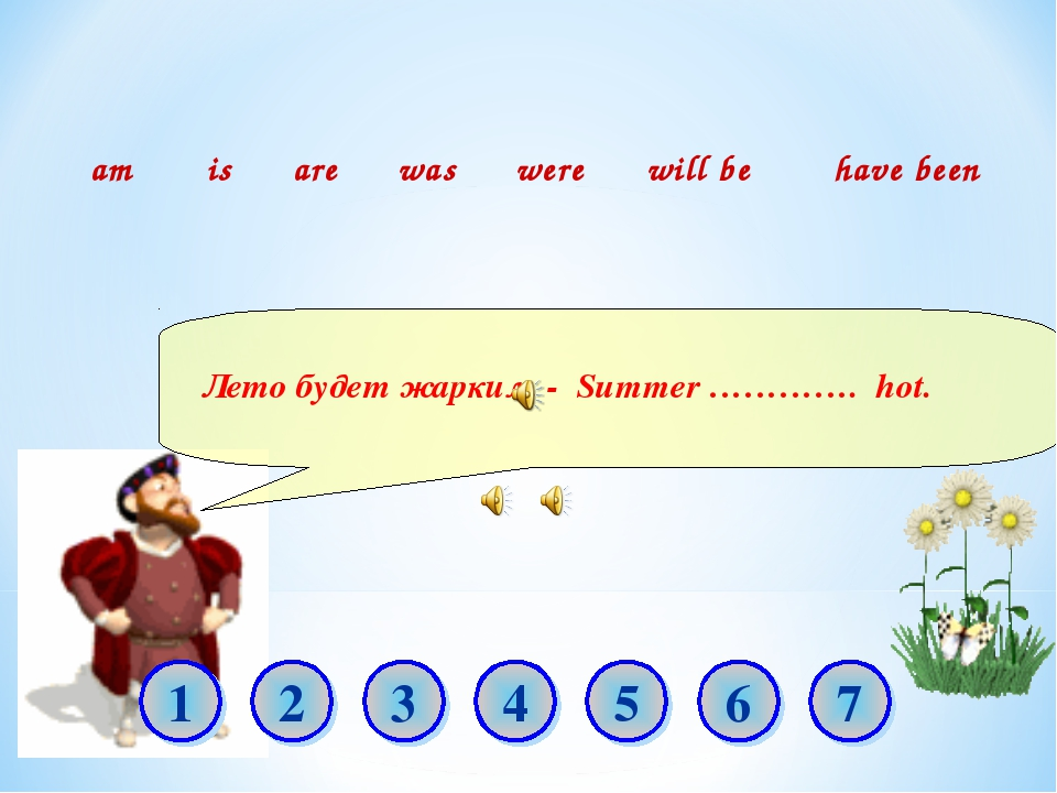 Лето будет жарким. - Summer …………. hot. am is are was were will be have been...