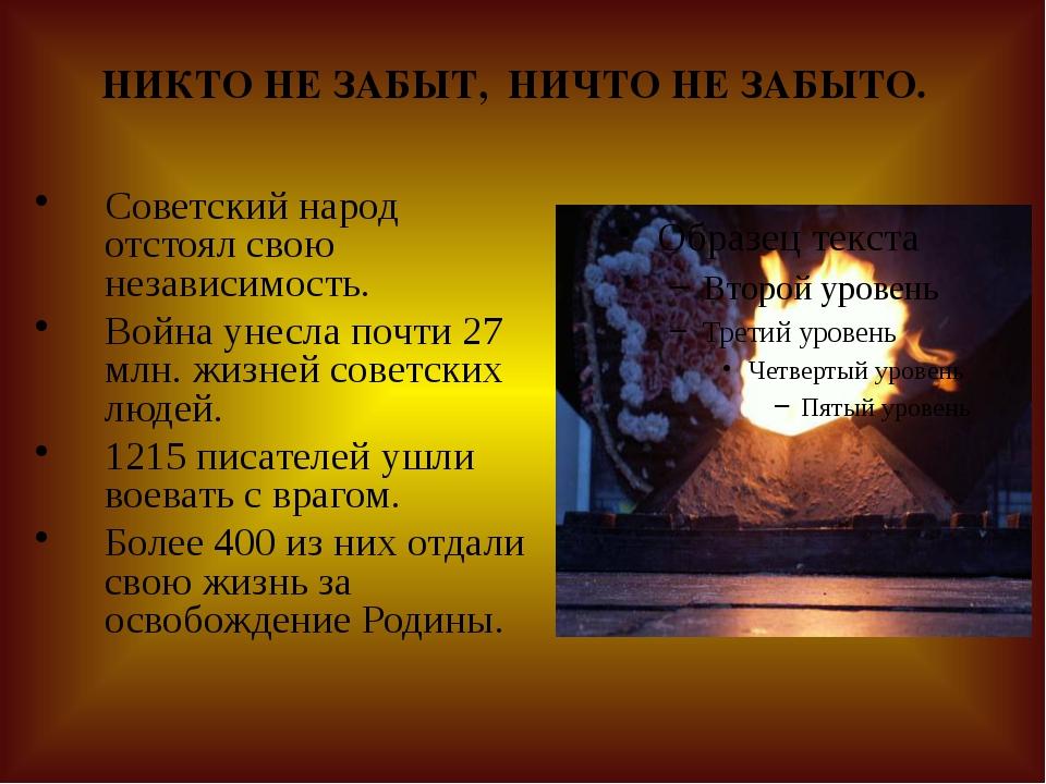 НИКТО НЕ ЗАБЫТ, НИЧТО НЕ ЗАБЫТО. Советский народ отстоял свою независимость....