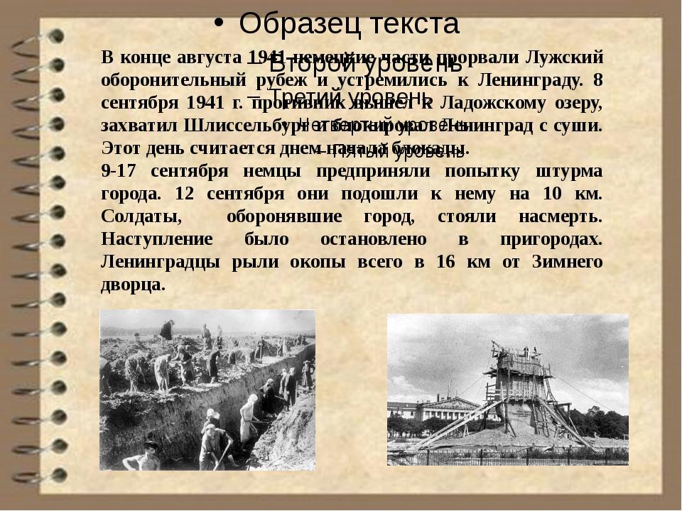В конце августа 1941 немецкие части прорвали Лужский оборонительный рубеж и...