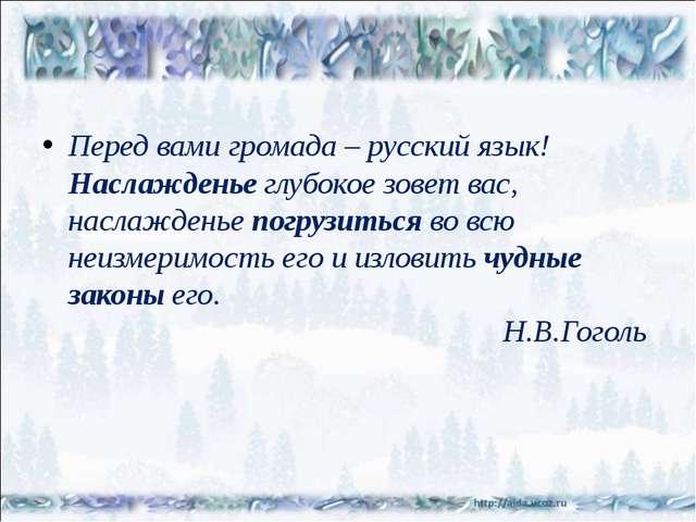Перед вами громада – русский язык! Наслажденьеглубокое зовет вас, наслажден...