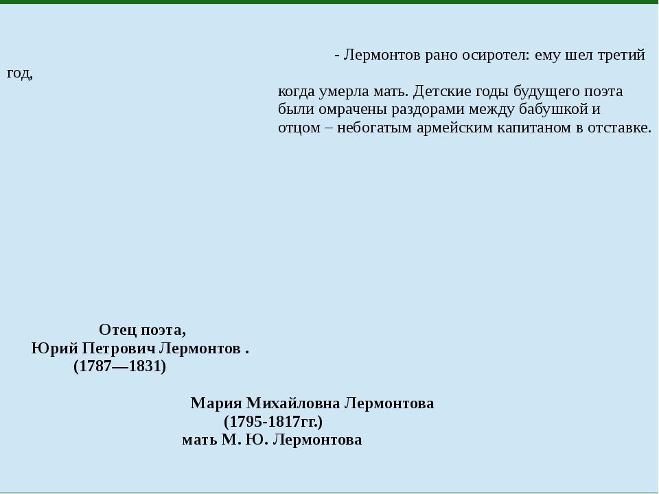 - Лермонтов рано осиротел: ему шел третий год, когда умерла мать. Детские го...