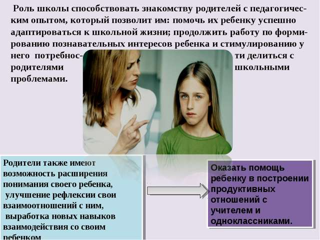 Роль школы способствовать знакомству родителей с педагогичес-ким опытом, кот...