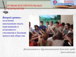 УРОВНИ ВОСПИТАТЕЛЬНЫХ РЕЗУЛЬТАТОВ Второй уровень – получение школьником опыт