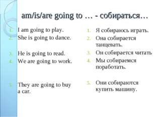 am/is/are going to … - собираться… I am going to play. She is going to dance.