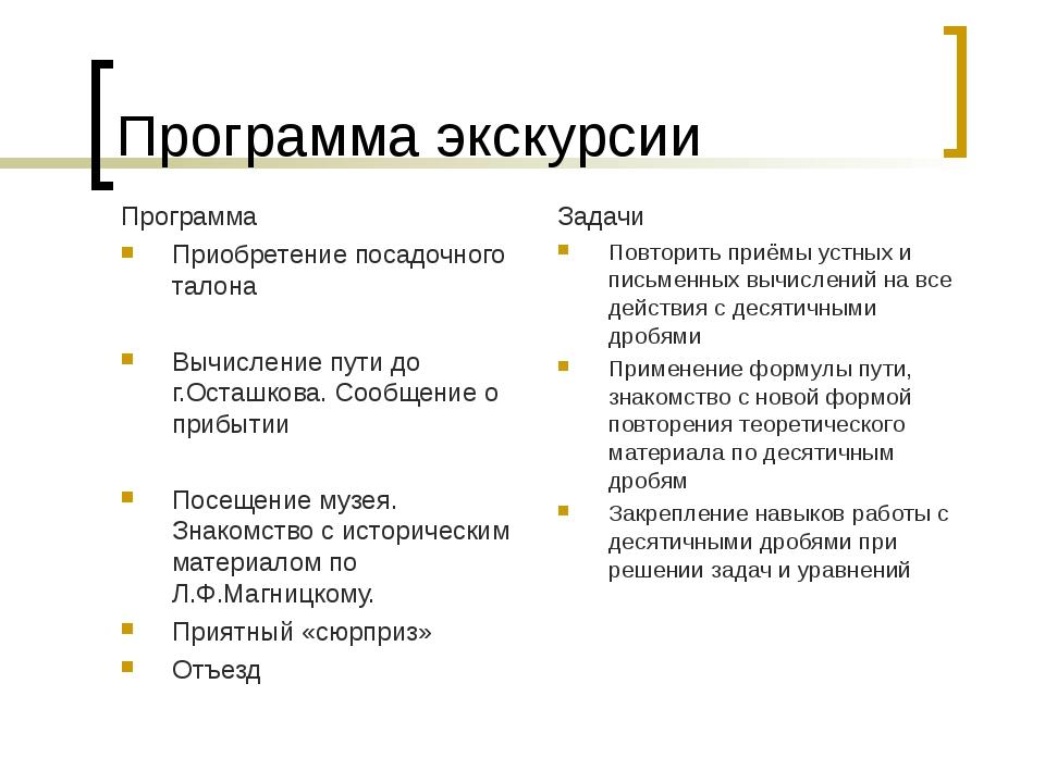 Программа экскурсии Программа Приобретение посадочного талона Вычисление пути...