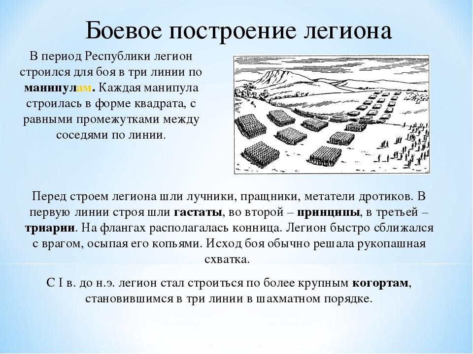 Боевое построение легиона В период Республики легион строился для боя в три л...