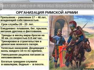 ОРГАНИЗАЦИЯ РИМСКОЙ АРМИИ Призывник – римлянин 17 – 46 лет, владеющий собстве