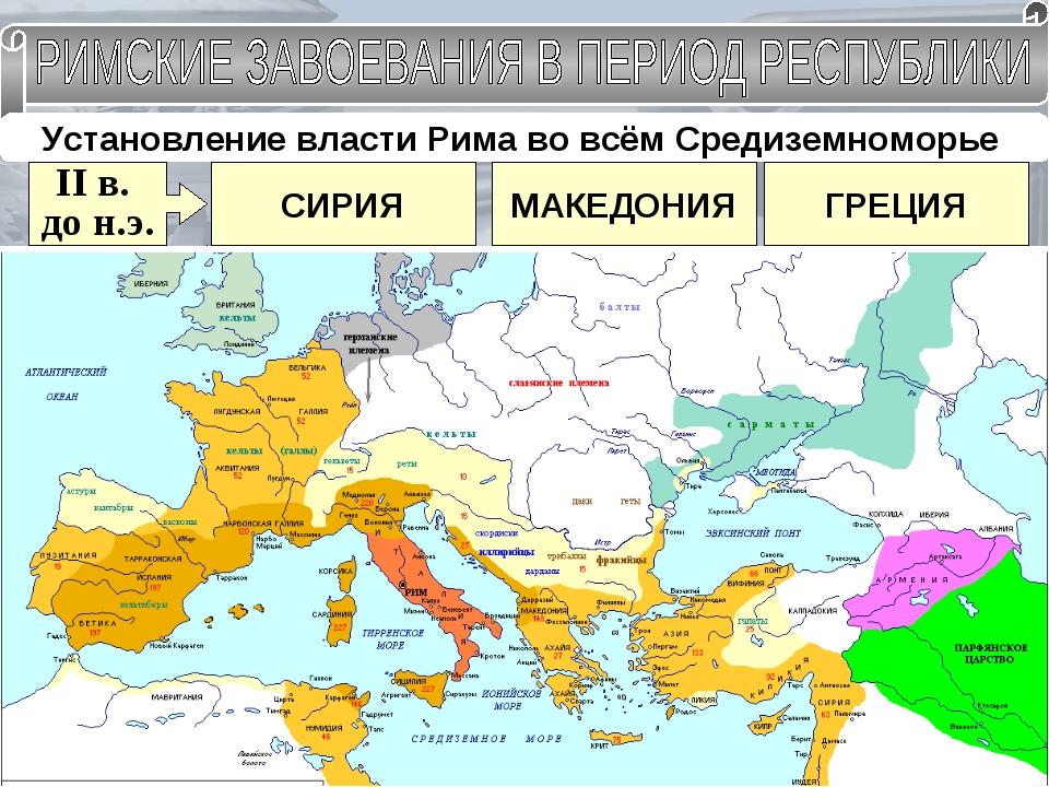 Установление власти Рима во всём Средиземноморье II в. до н.э. МАКЕДОНИЯ СИРИ...