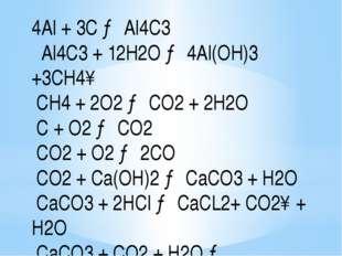 4Al + 3С → Al4С3 Al4С3 + 12H2O → 4Al(OH)3 +3CH4↑ CH4 + 2O2 → CO2 + 2H2O C + O