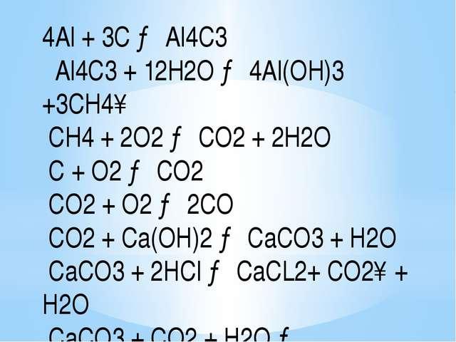 4Al + 3С → Al4С3 Al4С3 + 12H2O → 4Al(OH)3 +3CH4↑ CH4 + 2O2 → CO2 + 2H2O C + O...