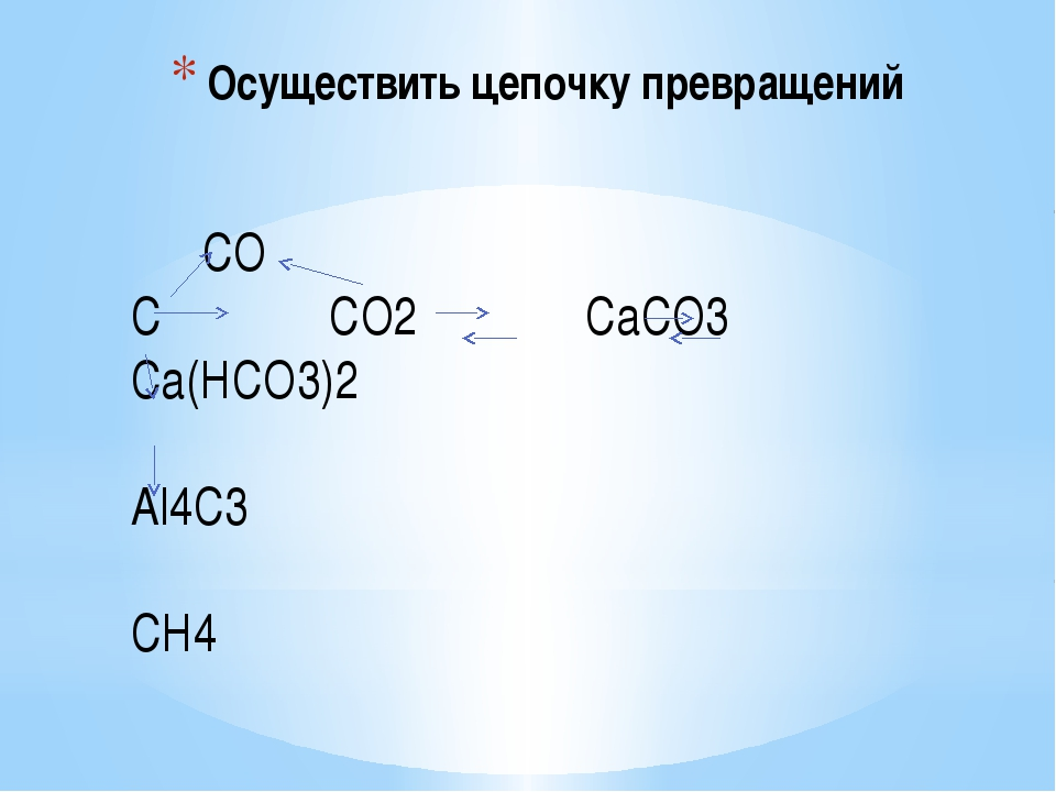 Осуществить цепочку превращений СО С СО2 СаСО3 Са(НСО3)2 Аl4С3 СН4