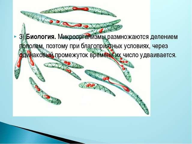 3) Биология. Микроорганизмы размножаются делением пополам, поэтому при благоп...