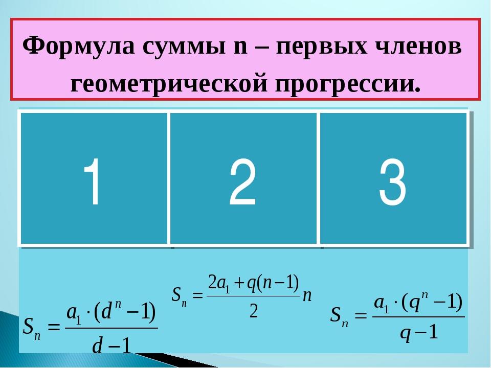 Формула суммы n – первых членов геометрической прогрессии. 1 2 3